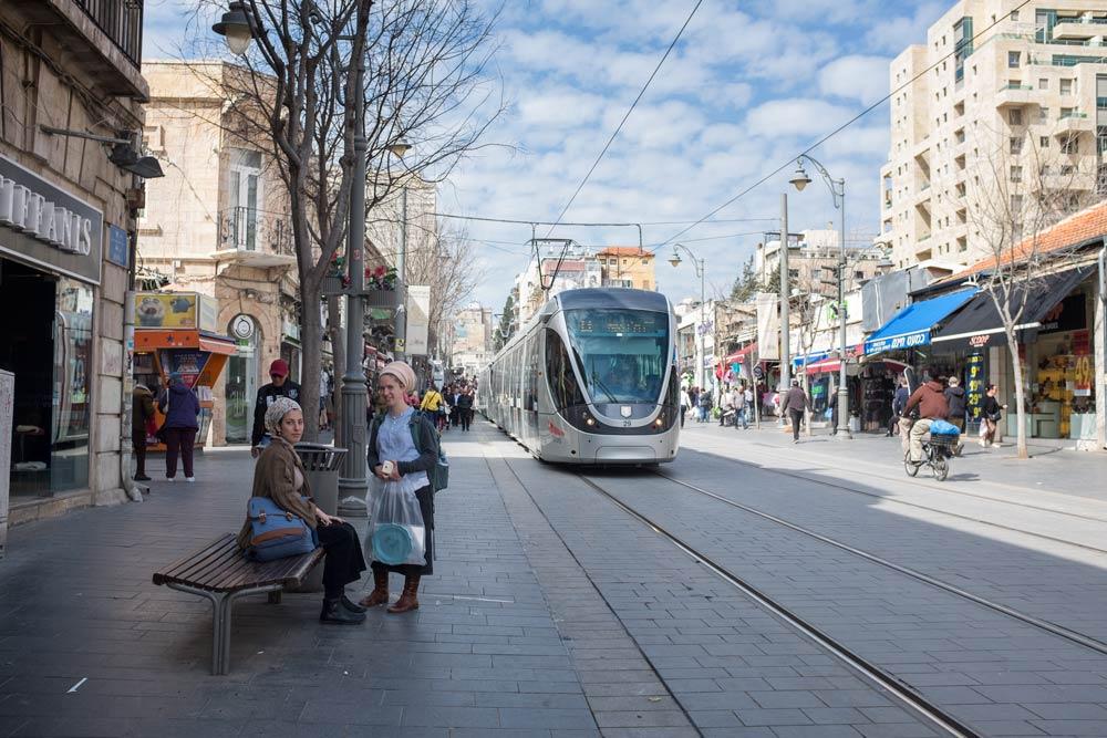 Light Rail on Jaffa Road Jerusalem